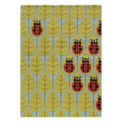 Momeni - Lil Mo Whimsy Lady Bug Red Kids Leaves 2' x 3' Momeni Rug by RugLots - Forest critters, retro robots and mod flowers, oh my! Quirky motifs combine to put Lil Mo Whimsy in a class by itself. Hand-tufted of soft mod-acrylic, this collection features hand-carving for added texture and a vibrant color palette to make it as fun as it is unique.