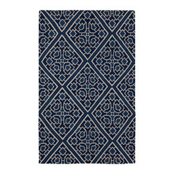 """Surya - Surya Alameda AMD-1005 (Sapphire Blue) 2'6"""" x 8' Rug - In the Alameda collection by Surya, you can find striking geometric shapes and bold colors. This diverse collection contains contemporary rugs as well as transitional rugs. These modern rugs are constructed with traditional flat-weaving in 100% wool."""