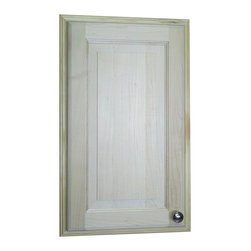 None - 24-inch Recessed Baldwin Medicine Storage Cabinet - This medicine cabinet features a natural pine finish which can be painted or stained. It is also easy to install,simply put construction adhesive (not included) on the back side of the frame and push it into the opening in your drywall.