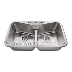 Polaris - Polaris P335 Low Divide Angled Bowl Stainless Steel Kitchen Sink - Polaris P335 Low Divide Angled Bowl Stainless Steel Kitchen Sink