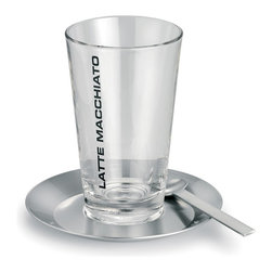 Blomus - Blomus Latte Macchiato Set - Bring out the barrista in you and enjoy this latte macchiato set. Perfect for a relaxing morning or nightcap, this set designed in stainless steel along with a glass tumbler, includes the saucer and spoon. An excellent addition to any stylish kitchen.Item also available on: