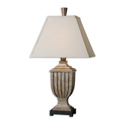 Uttermost - Saviano Aged Pecan Lamp - Heavily distressed, aged pecan finish with burnished edges and a light gray wash. The rectangle straight sided shade is an off white linen fabric with natural slubbing.