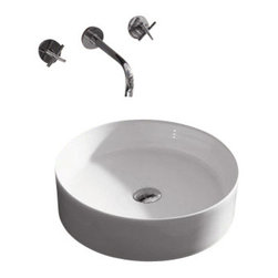 "TCS Home Supplies - Round European Design Porcelain Ceramic Countertop Bathroom Vessel Sink - Countertop Bathroom Vessel Sink. Rounded European Design. Porcelain Ceramic. Available in White and Black Color. Compatible with any Vessel Filler or Wall-Mount Faucets. Exterior Diameter 18-1/8"". Interior Diameter 17-1/4"". Depth 6-1/8""."