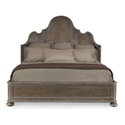 Belgian Oak King Panel Bed - A king-size panel bed with a slightly French feel is very shapely.