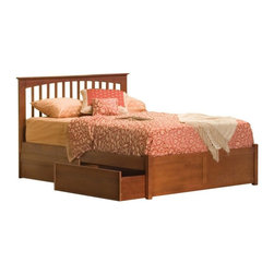 Atlantic Furniture - Queen Brooklyn Platform Bed / Flat Panel Drawers / Caramel Latte - The warm wood finish accentuates the classic mission style slat and post design of this beautiful Brooklyn Storage Bed with Flat Panel Under Bed Drawers in Caramel Latte Finish - Atlantic Furniture. Comfortable and eclectic, it will add character and timeless elegance to your decor.
