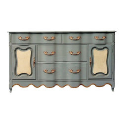 French Grey Buffet Server Sideboard - A French grey buffet server sideboard. This piece features solid wood construction with so many lovely curves; a gorgeous French Provincial piece! The seller painted this beauty in a warm, soft grey, accented with ochre front panels and a bit of bling by way of gilded hardware and trim. The piece has very light antiquing wax in the recesses, no distressing. This is an elegant, gorgeous piece.