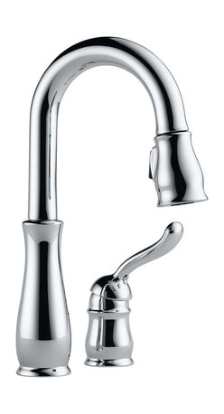 Delta Single Handle Bar/Prep Faucet - 9978-DST - The Leland Bath Collection gracefully reinterprets the time-honored teapot design with decorative, traditional detailing.