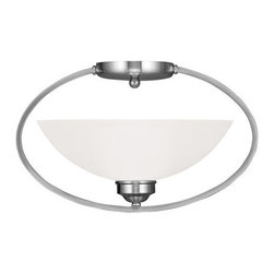 """Livex Lighting - Livex Lighting 4236 Somerset 16 Inch Wide Semi-Flush Ceiling Fixture with 1 Ligh - Livex Lighting 4236 Somerset One Light Semi-Flush Ceiling FixtureModern and stylish, the Somerset single light 16"""" wide mini pendant features a simple oval frame with a white alabaster glass bowl, making it a beautiful addition to your home.Livex Lighting 4236 Features:"""