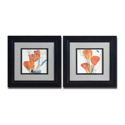 Uttermost - Uttermost Red Grandiflorum 24 Inch Square Wall Art I, II (Set of 2) - Vibrant floral prints are accented by medium gray mats and surrounded by black satin frames and fillets. Prints are under glass.