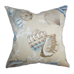 """The Pillow Collection - Tait Coastal Pillow Blue Natural - Toss this summery accent pillow in your living room or bedroom for a change of theme in time for summer. This ocean-themed throw pillow features sea creatures in neutral shades like blue and brown. This square pillow is made of 100% plush and soft cotton material. Lend a seaside vibe to your living space by pairing this 18"""" pillow with other coastal-inspired decor pieces. Hidden zipper closure for easy cover removal.  Knife edge finish on all four sides.  Reversible pillow with the same fabric on the back side.  Spot cleaning suggested."""