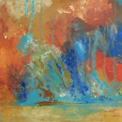 """""""Thunderstorm"""" (Original) By Kate Ladd - Abstract Impression Of A Storm, The Thunder And Lightening, The Rain Pelting Down Onto The Ground, The Colors In The Light."""