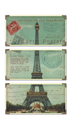 Uttermost - Artwork Reproduction Eiffel Tower Carte Postale Set of 3 Wall Art - Artwork Reproduction Eiffel Tower Carte Postale Set of 3 Wall Art