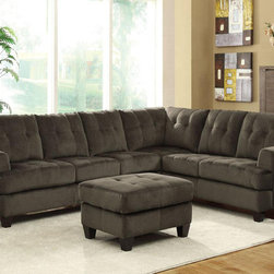 Coaster Casual Charcoal Velvet Sectional Sofa Set Corner Couch Tufted - Clean lines and a timeless style give the Hurley sectional a casual and sophisticated look. With a frame and legs made from solid wood. and Plush foam seats with coil spring. this sectional is sure to keep your guests comfortable. This collection also features attached seats and removable back cushions. Wrapped in a luxurious textured padded velvet in charcoal or Chocolate.