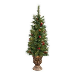 Potted Judson Mix Pine Pre-lit Tabletop Christmas Tree - A beautiful tree adorned with bright berries and pines, the Potted Judson Mix Pine Pre-lit Tabletop Christmas Tree carries the magical charm of Christmas spirit. This Christmas tree is pre-lit with clear lights and rests on a brushed gold color, ornately designed pot. Just place this tree on a table or anywhere else, light up the tree and let the festivities begin! It is available in two sizes. Its available in heights of 4 ft and 6 ft with the base width of 4 inches and 6 inches respectively.Specifications for a 4 foot TreeShape: MediumBase Width: 4 inchesNumber of Bulbs: 139Specifications for a 6 foot TreeShape: MediumBase Width: 6 inchesNumber of Bulbs: 490