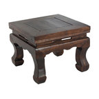 Antique Revival - Natural Vintage Theater Stool - This old-fashioned vintage Puppet Theatre stool features several interesting details, including curved feet and detailing along the under edge of the stool. It can be used functionally to reach higher shelves in a kitchen or office, but also looks great on its own as an accent piece. Item is newly made.
