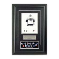 "Heritage Sports Art - Original art of the NHL 1992-93 Wayne Gretzky jersey - This beautifully framed piece features an original piece of watercolor artwork glass-framed in an attractive two inch wide black resin frame with a double mat. The outer dimensions of the framed piece are approximately 17"" wide x 24.5"" high, although the exact size will vary according to the size of the original piece of art. At the core of the framed piece is the actual piece of original artwork as painted by the artist on textured 100% rag, water-marked watercolor paper. In many cases the original artwork has handwritten notes in pencil from the artist. Simply put, this is beautiful, one-of-a-kind artwork. The outer mat is a rich textured black acid-free mat with a decorative inset white v-groove, while the inner mat is a complimentary colored acid-free mat reflecting one of the team's primary colors. The image of this framed piece shows the mat color that we use (Silver). Beneath the artwork is a silver plate with black text describing the original artwork. The text for this piece will read: This original, one-of-a-kind watercolor painting of Wayne Gretzky's 1992-93 Los Angeles Kings jersey is the original artwork that was used in the creation of this Wayne Gretzky jersey evolution print and tens of thousands of Wayne Gretzky products that have been sold across North America. This original piece of art was painted by artist Tino Paolini for Maple Leaf Productions Ltd. Beneath the silver plate is a 3"" x 9"" reproduction of a well known, best-selling print that celebrates Wayne Gretzky's hockey history. The print beautifully illustrates a chronological evolution of some of Wayne Gretzky's jerseys and shows you how the original art was used in the creation of this print. If you look closely, you will see that the print features the actual artwork being offered for sale. The piece is framed with an extremely high quality framing glass. We have used this glass style for many years with excellent results. We package every piece very carefully in a double layer of bubble wrap and a rigid double-wall cardboard package to avoid breakage at any point during the shipping process, but if damage does occur, we will gladly repair, replace or refund. Please note that all of our products come with a 90 day 100% satisfaction guarantee. Each framed piece also comes with a two page letter signed by Scott Sillcox describing the history behind the art. If there was an extra-special story about your piece of art, that story will be included in the letter. When you receive your framed piece, you should find the letter lightly attached to the front of the framed piece. If you have any questions, at any time, about the actual artwork or about any of the artist's handwritten notes on the artwork, I would love to tell you about them. After placing your order, please click the ""Contact Seller"" button to message me and I will tell you everything I can about your original piece of art. The artists and I spent well over ten years of our lives creating these pieces of original artwork, and in many cases there are stories I can tell you about your actual piece of artwork that might add an extra element of interest in your one-of-a-kind purchase."