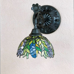 Meyda Tiffany - Meyda Tiffany Sconces Wall Sconce in Mahogany Bronze - Shown in picture: Tiffany Honey Locust Wall Sconce; The Honey Locust Was Popular Floral Design Created By Louis Comfort Tiffany - More Than A Century Ago. Decorative Dome-Shaped Stained Glass Lampshades - With Petal Shaped Edges Depict Clusters Of Plum And Periwinkle Flowers Amid Spring Green Leaves Cascading Towards The Base. This Bridge Arm Accent Lamp Has A Complementary Decorative Base Featuring Our Mahogany Bronze Finish.