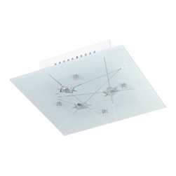 Globe Electric - Globe Electric 63753 Art Glass 1 Light Square Flush Mount Ceiling Fixture - Features:
