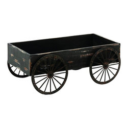 Woodland Imports - Country Wood Wagon Cart Weathered Black Large Wheels Patio Decor - Country style wood wagon cart in weathered black finish with large spooked wheels rustic home patio garden decor