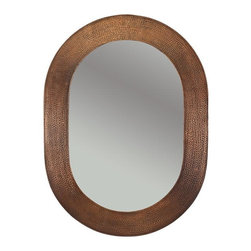 Premier Copper Products - 35 in. Hand Hammered Oval Copper Mirror - Configuration: Oval. Design: Hammered Copper Surface. Color: Oil Rubbed Bronze. Inner Dimension 27 in. x 18 in. x 1 in.. Outer Dimension: 35 in. x 26 in. x 1 in.. Installation Type: Wall Mount / Horizontal or Vertical. Material Gauge: Industry Best (18 Gauge Wrapped Around MDF Plywood). Hand Made. Mirror: Included. 100% Recyclable. Composition: 99.7% Pure Recycled Copper. Lead Free (