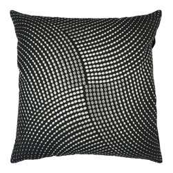 """Surya - Square Cotton Pillow P-0223 - 18"""" x 18"""" - Stylish metallic circles of intricate detail make this pillow an elegant edition to any space. Colors of black and silver accent this decorative pillow. This pillow contains a poly fill and a zipper closure. Add this pillow to your collection today."""