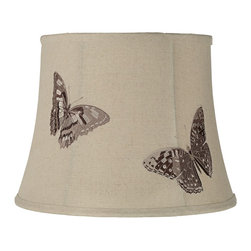 "Lamps Plus - Country - Cottage Butterfly Linen Bell Lamp Shade 11x14.5x11 (Spider) - Flying with style this charm-filled bell shade is characterized by two brown butterflies that are embroidered onto sand linen fabric. Self trim provides a frame around the edge of the design and a polished brass spider fitter allows you to easily upgrade any existing table lamp in your home. The correct size harp and finial are included free with this purchase. Bell lamp shade. Embroidered butterfly design. Sand linen blend fabric. Self trim. Cream liner. Polished brass spider fitter. 11"" across the top. 14 1/2"" across the bottom. 11"" on the slant.  Bell lamp shade.  Embroidered butterfly design.  Sand linen blend fabric.  Self trim.  Cream liner.  Polished brass spider fitter.  11"" across the top.  14 1/2"" across the bottom.  11"" on the slant."