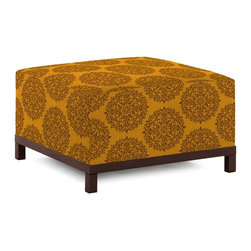 Howard Elliott - Medallion Spice Axis Ottoman - Mahogany Frame - Get in touch with your tribal side with a medallion axis ottoman. Create a bold look with this great color and pattern. Maximize your comfort by placing the medallion axis ottoman on its own or pair it up with additional ottoman, chair or corner pieces and arranging them in countless configurations.
