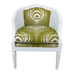 """Pre-owned Cane Chair with Green Plume Upholstery - Need a seat that packs a punch? This vintage cane chair will do just the trick! Upholstered in green Thomas Paul plume print fabric and painted in white semi-gloss paint. Seat cushion is removable. Seat height is 21""""."""