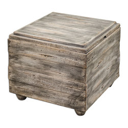 Uttermost - Avner Wooden Cube Table - Constructed Almost Entirely Of Sustainable, Plantation-grown Mango Wood, This Bunching Table Offers Invaluable Storage And Style In An Elegantly Casual, Waxed Driftwood Finish. When Needed, The Reversible, Lift-off Top Becomes A Useful Serving Tray.