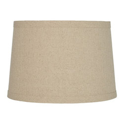 """Lamps Plus - Arts and Crafts - Mission Oatmeal Drum Lamp Shade 14x16x11 (Spider) - Drum lamp shade. Oatmeal-colored burlap fabric. Hardback shade. Taupe polyester lining. Self-trim. Chrome spider fitter. 14"""" across the top. 16"""" across the bottom. 11"""" on the slant.  Drum lamp shade.   Oatmeal-colored burlap fabric.  Hardback shade.  Taupe polyester lining.  Self-trim.   Chrome spider fitter.  14"""" across the top.  16"""" across the bottom.   11"""" on the slant."""