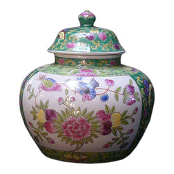 Golden Lotus - Chinese Green Lotus Peony Flower Butterflies Porcelain Jar - This is a Chinese decoration jar with hand draw Green Base colorful oriental flower graphic