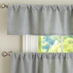 """Emery Linen Cafe Curtain 50 x 24"""", Blue Dawn - Charming in a kitchen or breakfast nook, Emery brings a casual warmth to the room. 50"""" wide; available in valance and two curtain lengths Woven of a linen/cotton blend. Lined with cotton. Hangs from the pole pocket or from Clip Rings (sold separately). Valance and curtain sold separately. Dry-clean. Imported."""
