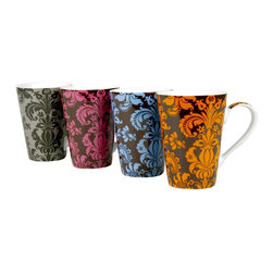 Konitz - Assorted Rocaille Mugs, Set of 4 - The Rocaille Mugs are adorned with French-inspired ornamental designs. Assorted colors.