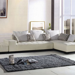 Contemporary Style Full Leather Corner Couch with Pillows - More options available