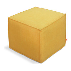 Gus Modern - Jasper Cube, Laurentian Citrine - Jasper Cube by Gus Modern. A clean and simple cube ottoman from Gus Modern. Perfect to accommodate your modern furniture. This compact ottoman has unique exposed seams which add character to the clean lines.