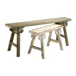 Amish Style Benches Set of 2 - Amish Style Benches