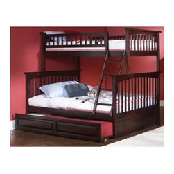Atlantic Furniture - Columbia Twin Over Full Bunk Bed w Trundle - NOTE: ivgStores DOES NOT offer assembly on loft beds or bunk beds. Designed for durability. Two 14 piece slat kits. Mortise and tenon construction. Twenty six steel reinforcement points. Guard rails match panel design. Compliance with ASTM F-1427 Standard Consumer Safety Specification for Bunk Beds and the Government Code of Federal Regulations 1213 and 1513. Warranty: One year. Made from eco-friendly solid hardwood. Clearance from floor without trundle or storage drawers: 11.25 in.. 80.5 in. L x 44.25 in. W x 68.13 in. H. Assembly Instruction-1. Assembly Instruction-2. Trundle Assembly Instructions. Bunk Bed Warning. Please read before purchase.