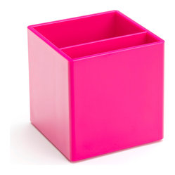 Poppin - Pen Cup, Pink - Take note. It's time to ditch the plastic pocket protector and get your pens and pencils into this stylish cup. It features two separate compartments, your choice of eye-popping colors in a lacquer-like finish and coordinates with other desk accessories in the same line.