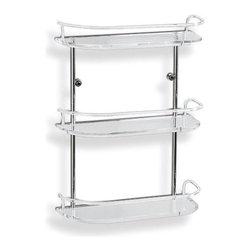 Toscanaluce - 16 Inch Triple Tier Clear Plexiglass Bathroom Shelf With Railing - Decorative, stylish wall mounted 16 inch three tier glass bathroom shelf with railing.
