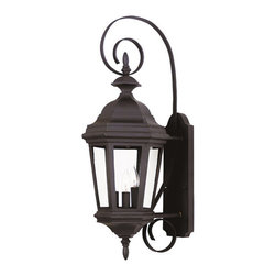 "Kenroy Home - Kenroy Home 16313 3 Light Outdoor Wall Sconce from the Estate Collection - Exterior wall sconce in an antique patina or black finish with clear beveled side glassExtends: 11""3 60w candelabra base bulbs required"
