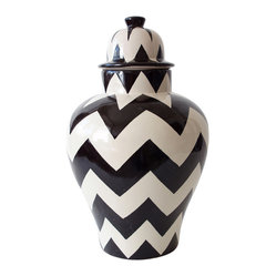 Black ZigZag Tibor - The traditional tibor — a Mexican decor staple — gets a modern update via this chic chevron pattern. The imported hand-crafted piece looks great indoors or out, used for storage or, minus the lid, filled with flowers.