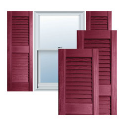 """Alpha Systems LLC - 12"""" x 47"""" Builders Choice Vinyl Open Louver Shutters,w/Screws, Berry Red - Our Builders Choice Vinyl Shutters are the perfect choice for inexpensively updating your home. With a solid wood look, wide color selection, and incomparable performance, exterior vinyl shutters are an ideal way to add beauty and charm to any home exterior. Everything is included with your vinyl shutter shipment. Color matching shutter screws and a beautiful new set of vinyl shutters."""
