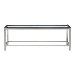 Era Rectangular Coffee Table - A modern table in architectural stainless steel and glass. The streamlined tubular steel frame is made by craftsmen who hand-buff the metal to a gleaming finish. This sleek family of tables features clean lines. Stretchers at base add both support to the frame and graphic interest to the design.