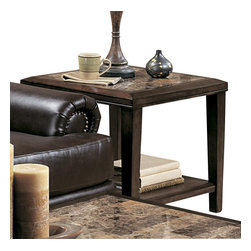 Homelegance - Homelegance Belvedere Square End Table in Espresso - The beveled wood edge of these burnished espresso finished tables softens the transitional Belvedere collection. Inset display shelving and decorative faux marble inlay further compliment the design.