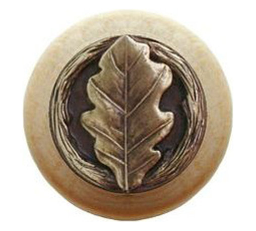 """Notting Hill - Notting Hill Oak Leaf/Natural Wood Knob - Antique Brass - Notting Hill Decorative Hardware creates distinctive, high-end decorative cabinet hardware. Our cabinet knobs and handles are hand-cast of solid fine pewter and bronze with a variety of finishes. Notting Hill's decorative kitchen hardware features classic designs with exceptional detail and craftsmanship. Our collections offer decorative knobs, pulls, bin pulls, hinge plates, cabinet backplates, and appliance pulls. Dimensions: 1-1/2"""" diameter"""