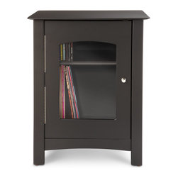 Crosley - Bardstown Entertainment Cabinet - This handcrafted wood entertainment stand proudly displays your favorite turntable or Crosley Entertainment Center in any setting. Constructed of hardwoods and veneers, this stand features storage shelves discreetly hidden behind a decorative glass door, perfect for storage of your complete record collection.