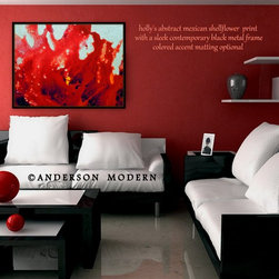 """Abstract Red Paintings, Fluid Acrylic Abstract Floral """"MEXICAN SHELL FLOWERS"""" - Standard prints START at $20"""