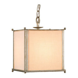 Kathy Kuo Home - Wayland Contemporary Silver Leaf Square Pendant with Linen Shade - With a nod to the Art Deco Shaded Pendants of yesteryear, this contemporary linen shaded hanging light has the simplicity of line and distinctive details that make it an apt choice for those seeking contemporary Asian lighting as well as minimal modernist style lighting.