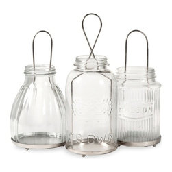 Vintage Look Glass Spangler Jar Lanterns - Set of 3 - *The Spangler collection of jar lanterns add a vintage feel to any home! Inspired by different mason jar styles, use multiples to light up the home for any celebration! Holds tealight candles.