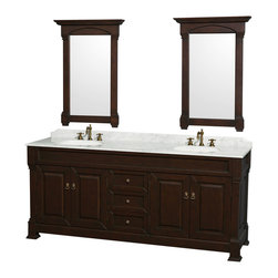 """Wyndham Collection Andover 80"""" Vanity, Carrera Marble Top, White Sinks - Wyndham Collection®"""